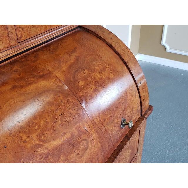Restored Antique 19th Century Burled Elm Roll Top Cylinder Desk C1860 For Sale - Image 12 of 13
