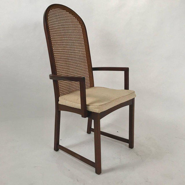 White Set of Six Milo Baughman High Back Cane and Walnut Dining Chairs for Directional For Sale - Image 8 of 11