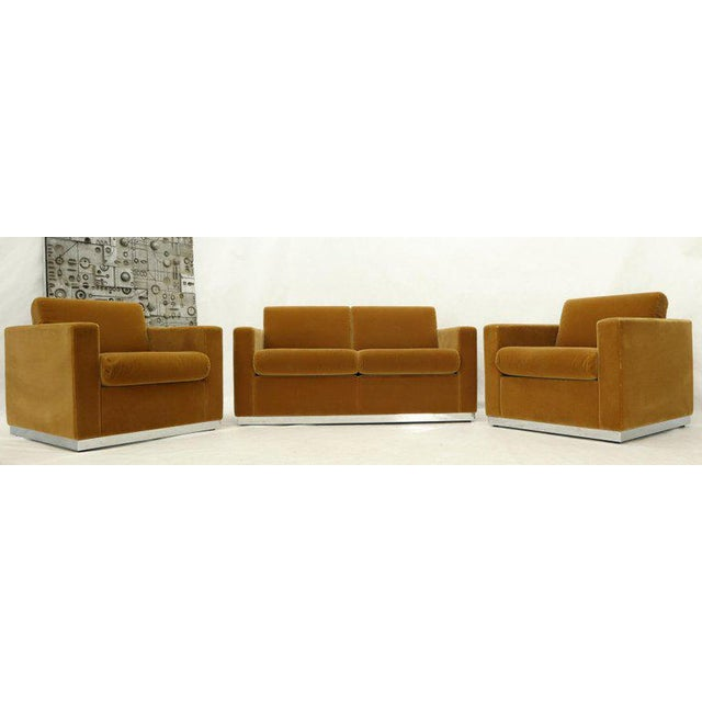 Three Pieces Mohair Living Room Set Club Chairs Love Seat Sofa For Sale - Image 13 of 13