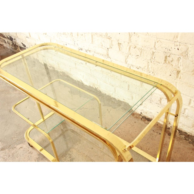 Milo Baughman for Dia Expandable Brass and Glass Bar Cart For Sale - Image 9 of 11