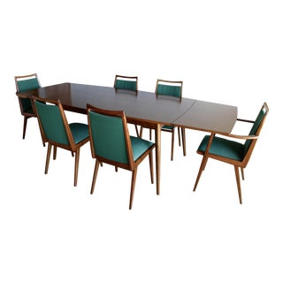 1950s West German Mid Century Habeo Afromosia Wood Dining Table & Chairs - Set of 7