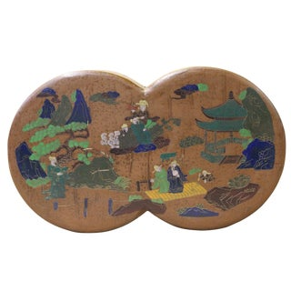 Chinese Light Brown Lacquer Double Round Scenery Painting Box For Sale