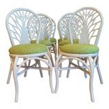 Image of 1970s Vintage Rattan High Gloss White Dining Chairs-Set of 6 For Sale