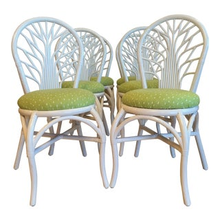 1970s Vintage Rattan High Gloss White Dining Chairs-Set of 6 For Sale