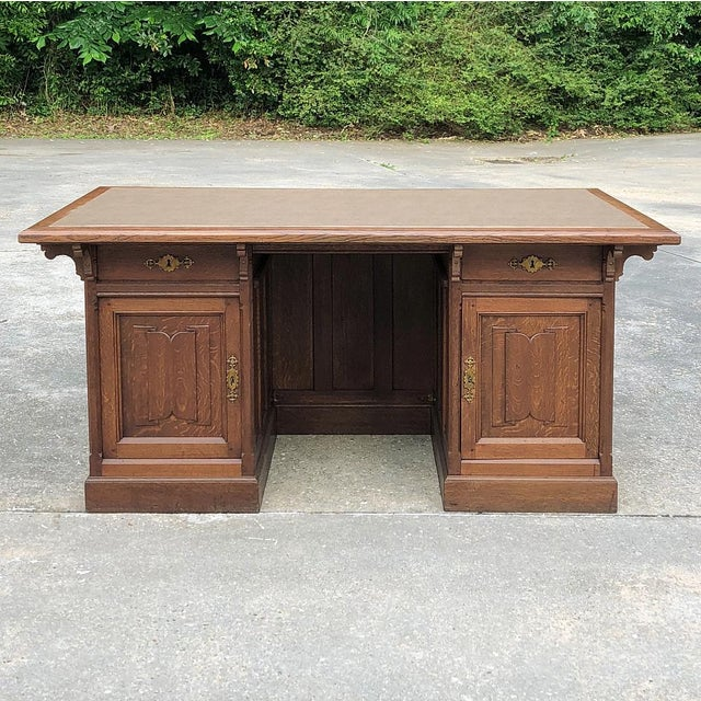 19th Century Gothic Oak Executive Desk For Sale - Image 13 of 13