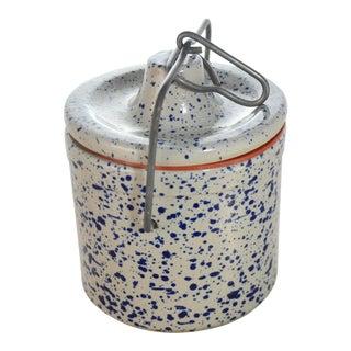 Farmhouse Blue Splatter Stoneware Crock For Sale