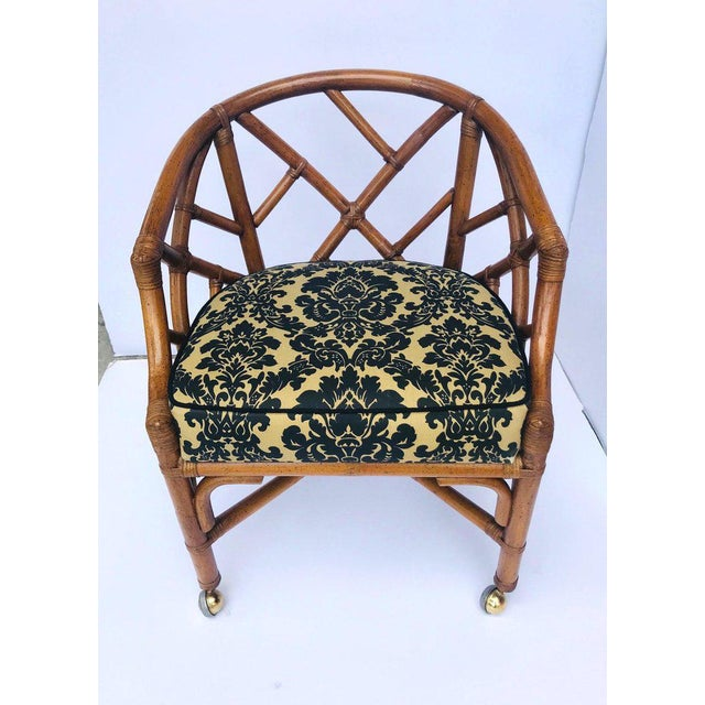 1970s 1970's Bamboo and Rattan Chippendale Swivel Desk Chair For Sale - Image 5 of 13
