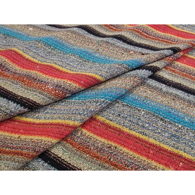 Blue Large Kilim with Colorful Stripes For Sale - Image 8 of 8