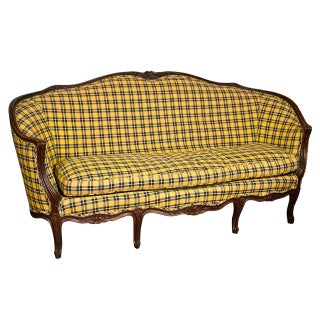 Louis XV-Style Settee in Ralph Lauren Plaid For Sale