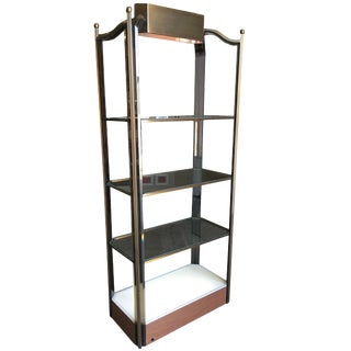 Bronze Glass Light Up Shelf Etagere W/ Smoked Acrylic Accents For Sale