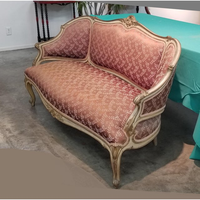 Vintage French Provincial Louis XVI Rose Settee Rococo Loveseat Gorgeous Settee in Great Vintage Condition. Solid and...