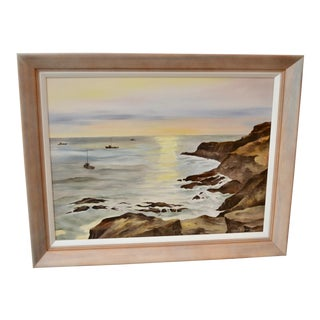 Vintage Impressionist Rocky Seascape Painting With Fishing Boats For Sale