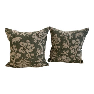 Schumacher Woodland Silhouette Moss Pillow Covers - a Pair For Sale