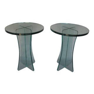 Modern Glass Side Tables - a Pair For Sale