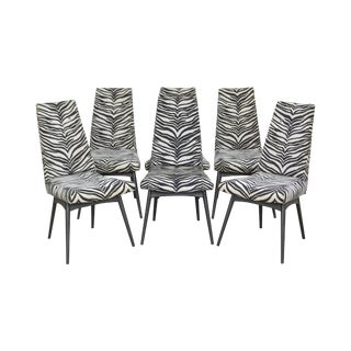 Adrian Pearsall Mid Century Modern Zebra Print Black Frame Dining Chairs - Set of 6 For Sale