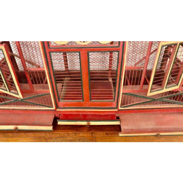 Americana Folk Art Circus Tent Style Original Painted Bird Cage For Sale - Image 4 of 13