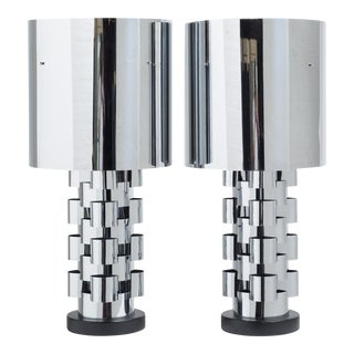 A Pair of Curtis Jere Nickel Lamps with Original Metal Shades For Sale