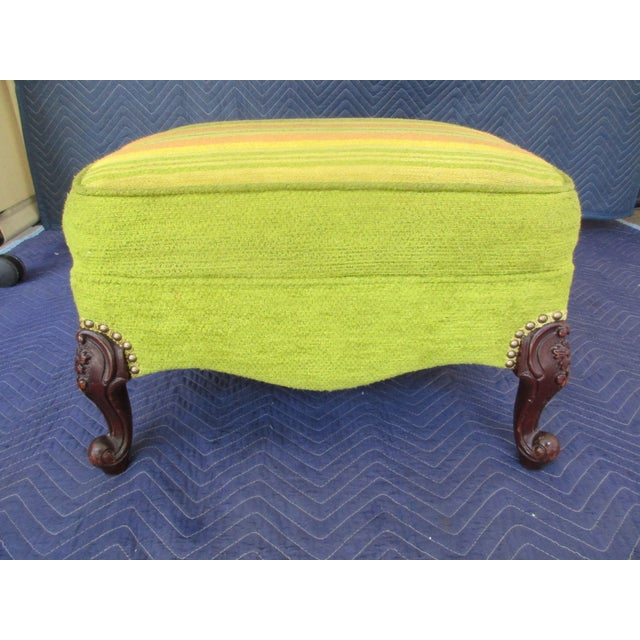 French Style Footstool With Mid-Century Modern Fabric For Sale - Image 11 of 11