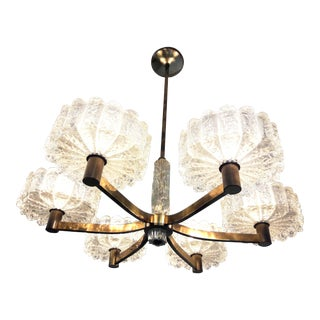 Large 1960s Brass and Crystal Glass Chandelier For Sale