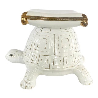 White Glazed Ceramic Turtle Garden Stool With Gold Accents For Sale