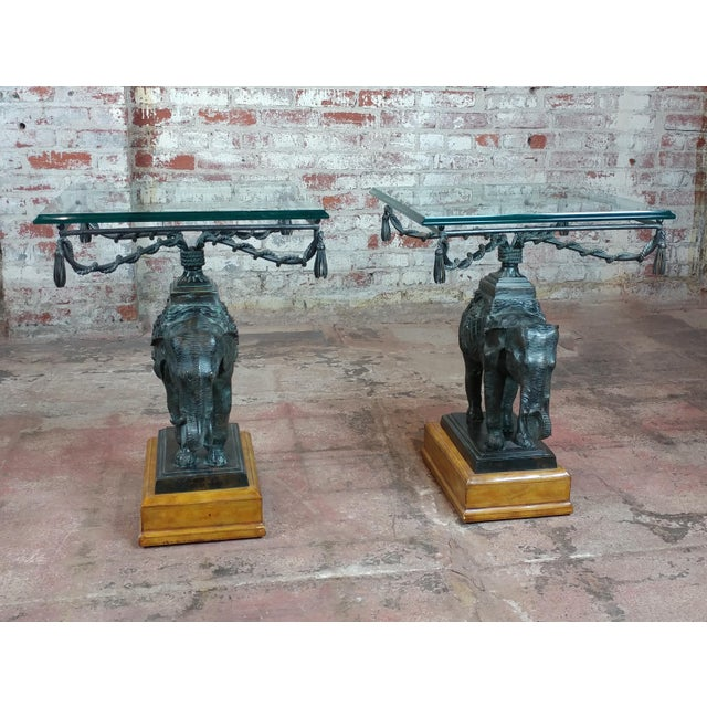Maitland Smith Beautiful Bronze Elephant side Tables-A pair For Sale - Image 12 of 12