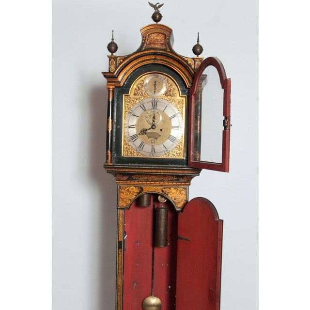 Gold George II Lacquered Chinoiserie Tall Case Clock Inscribed Jno. Fladgate, London For Sale - Image 8 of 13