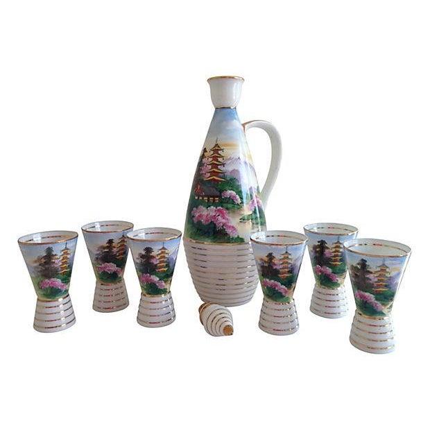 Midcentury Porcelain Sake Set - 8 Pieces - Image 5 of 7