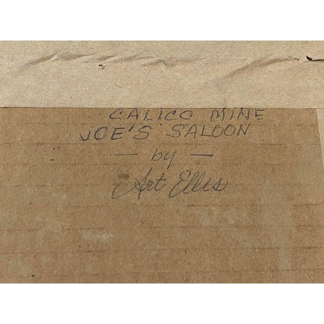 "Art Ellis ""Calico Mine, Joe's Saloon"" Original Watercolor C.1980 For Sale - Image 10 of 12"