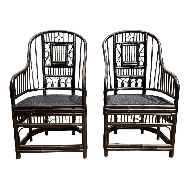 Vintage Brighton Pavilion Chinoiserie-Style Black Lacquered Bamboo and Rattan Chairs- a Pair For Sale