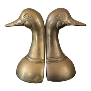 Vintage Mid Century Modern Brass Duck Head Bookends - a Pair For Sale