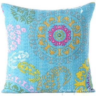 Turquoise Hand Block Kantha Throw Pillow For Sale