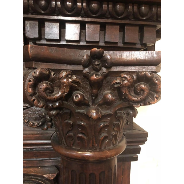 Wood Hand-Carved Renaissance Style Wood Mantel with Trumeau For Sale - Image 7 of 9