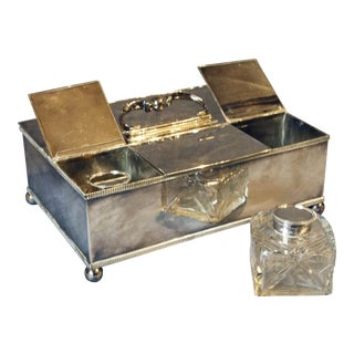 Silver Israel Freeman & Son Desk Top Writing Box Desk Set - 3 Pieces For Sale