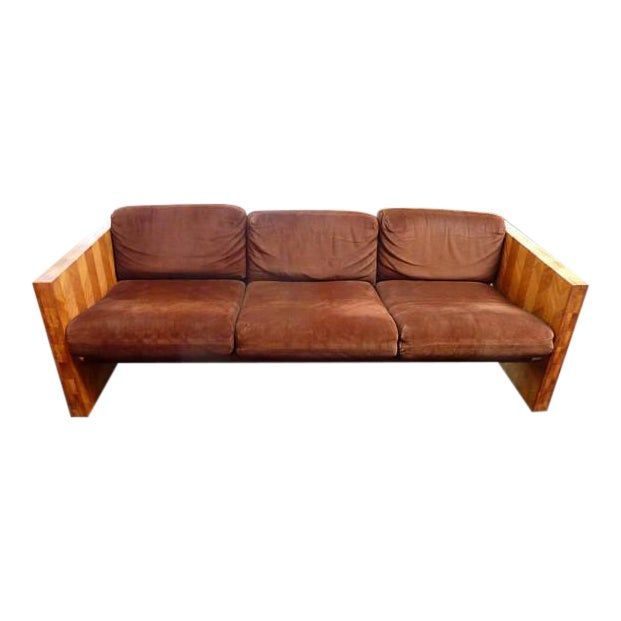 1970s Brown Suede & Wood Sofa For Sale