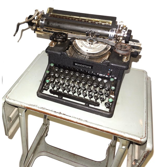 Art Deco Early 20th Century Typewriter, on Steel Dual Drop Leaf Rolling Typewriter Table For Sale - Image 3 of 11