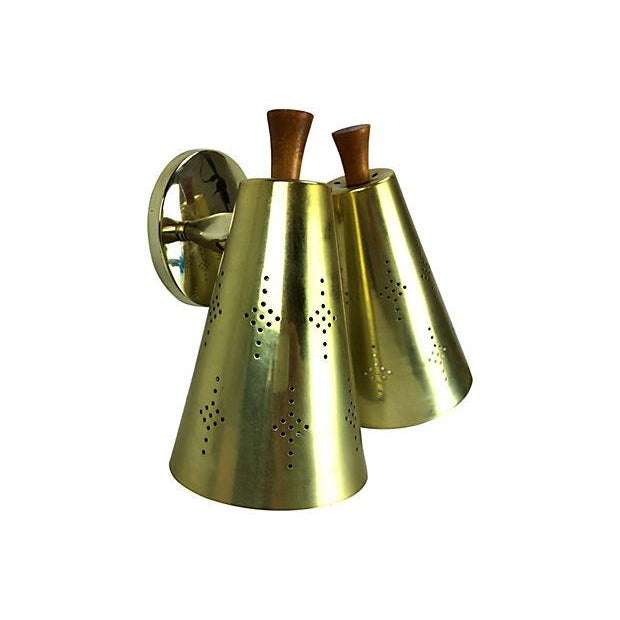 Atomic Mid-Century Double Gold Sconce - Image 3 of 7