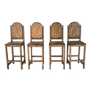 Italian Rustic Hand Painted Barstools - Set of 4 For Sale