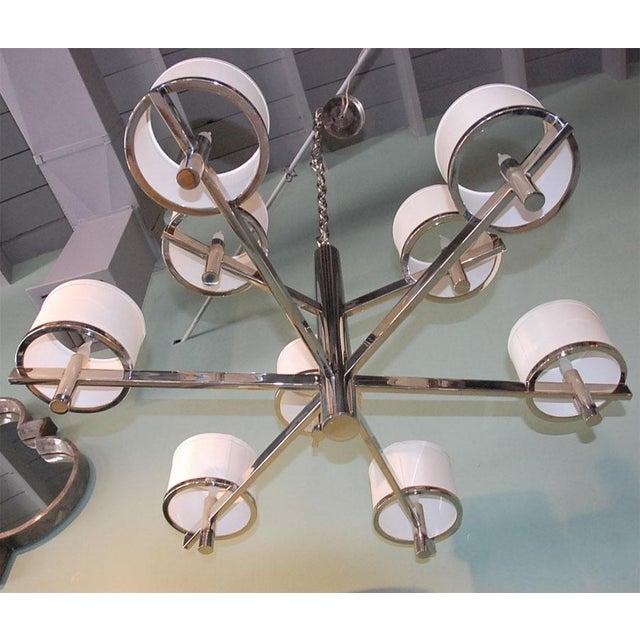 Modern Paul Marra Design Nine Arm Silk Drum Chandelier For Sale - Image 3 of 6