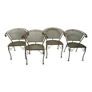 Set of 4 Wrought Iron Patio Garden Dining Chairs For Sale