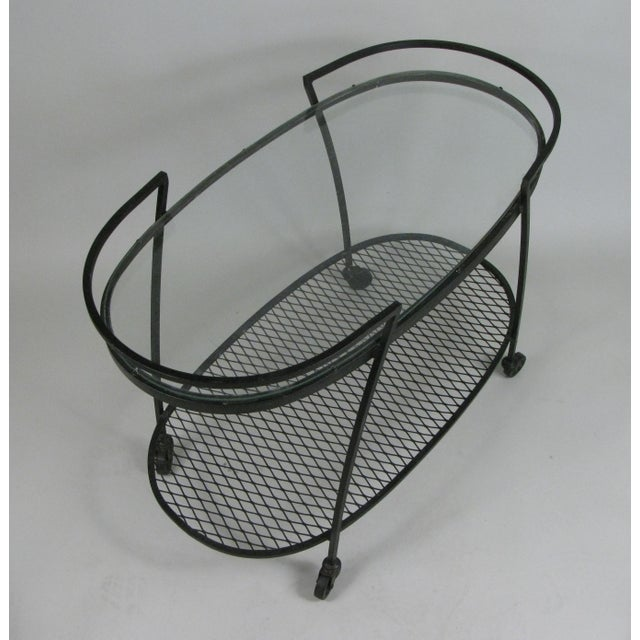 Metal Oval Wrought Iron 'Pinecrest' 1950s Bar Cart by Woodard For Sale - Image 7 of 8