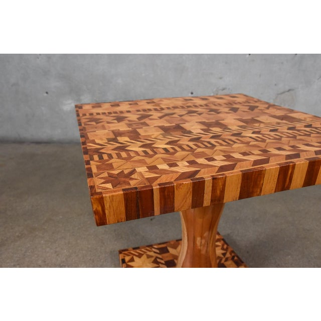 Folk Art Folk Art Marquetry Side Table For Sale - Image 3 of 5