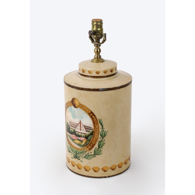 Hand Painted Hotel Landscape Design Tea Caddy Lamp For Sale In New York - Image 6 of 10