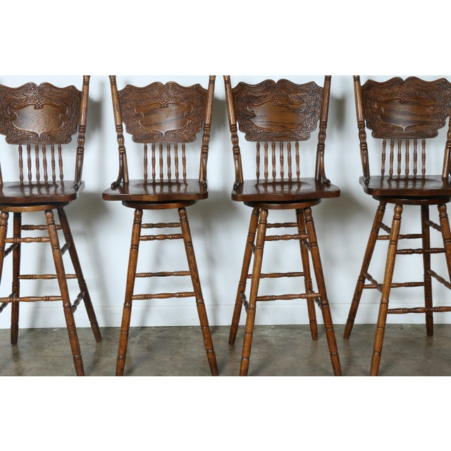 Country Style Solid Oak Bar Stools - Set of 4 - Image 4 of 9