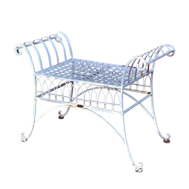 Victorian Vintage Victorian White Wrought Iron Sculpted Patio Garden Bench For Sale - Image 3 of 12