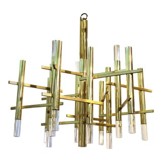 Sciolari Italian Atomic Era Chandelier in Polished Brass with Cylindrical Prisms For Sale