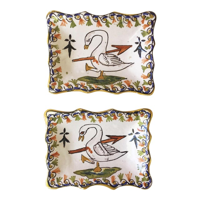 1910 Antique French Faience Swan Dishes - a Pair For Sale