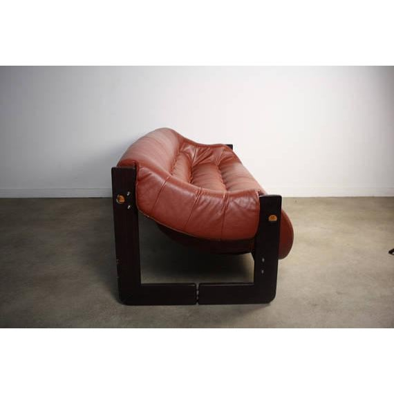 Percival Lafer Red Leather Seat Sofa For Sale - Image 5 of 5