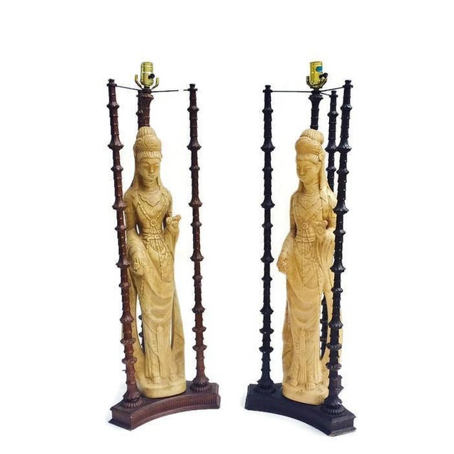 "Iconic Mid Century Chinoiserie Lamps Guan Yin Goddess Lamp Tony Duquette Style 38"" - A PAIR For Sale In Richmond - Image 6 of 10"