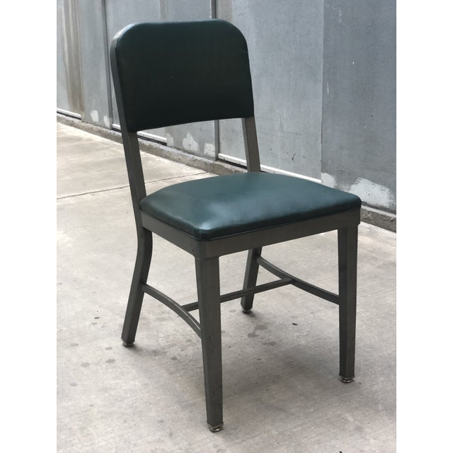6a0e328d45dfe Vintage Mid-Century Industrial Teal Vinyl Office Chair