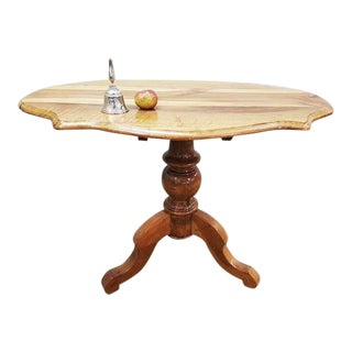 Antique French Round Walnut Tilt-Top Pie-Crust Style End Table For Sale